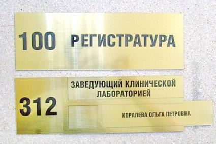 Золотая кабинетные таблички на металле